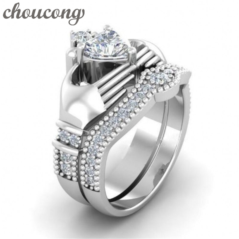 Choucong Lovers Claddagh Ring 1ct Diamonique 5a Zircon Cz White Gold Filled Wedding  Band Bridal Sets Ring For Women Men Gift
