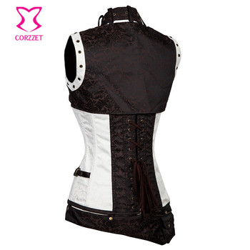 Corzzet White Brocade Steampunk Leather Armor Overbust Corset And Jacket Waist slimming Steel Boned Burlesque Gothic Corsets 1