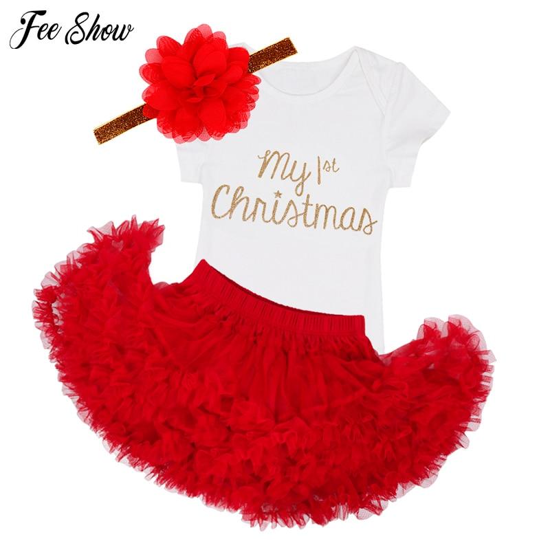 Newborn Christmas Clothes Baby Girls Clothing Set My First Christmas Baby Clothes Set Ruffle Tutu Dress New Born Baby Clothing