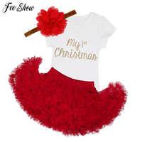 Рождественская Одежда для новорожденных; комплект одежды для маленьких девочек; комплект одежды для малышей на первое Рождество; платье-па...