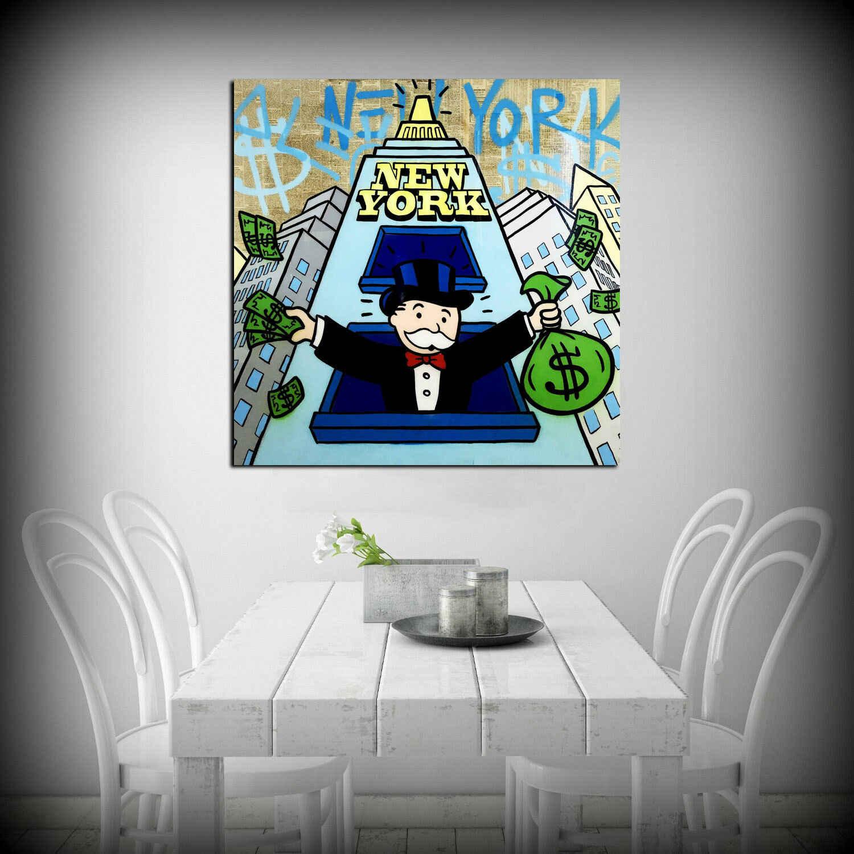 """Alec Monopolys """"New York"""" Astratta di Arte Della Parete Della Pittura A Olio Poster Tela di Canapa Pittura Stampa Immagini per Living Room Complementi Arredo Casa"""