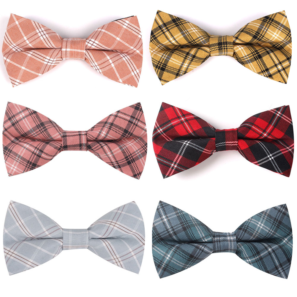 Fashion Bow Tie For Men Classic Plaid Bowtie For Business Wedding Bowknot Adult Cotton Mens Bowties Cravats Yellow Tie