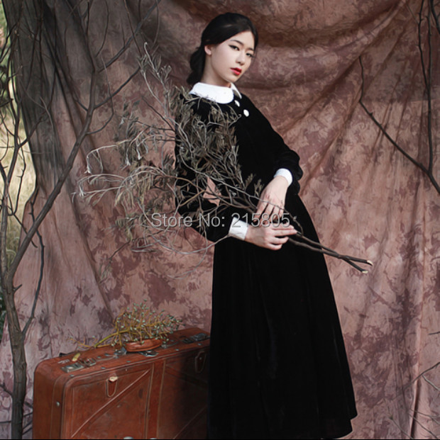 2016 New Fashion Vintage Winter Women Customized Long Solid Black Velour Dress long Sleeve Many Colors