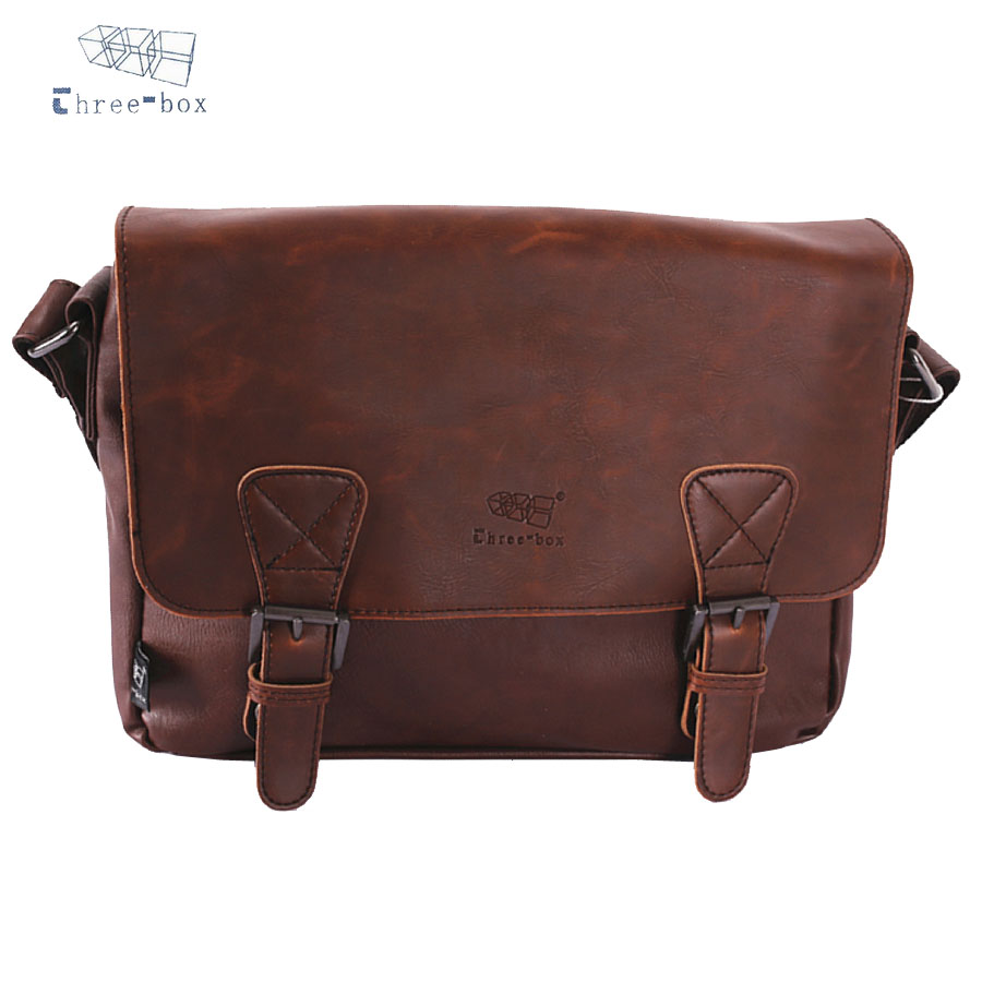 Three-Box Men Vintage PU Leather Handbag Satchel School Shoulder Messenger Crossbody Bag Male Bolsas Casual Travel Bags 3539 aerlis brand men handbag canvas pu leather satchel messenger sling bag versatile male casual crossbody shoulder school bags 4390