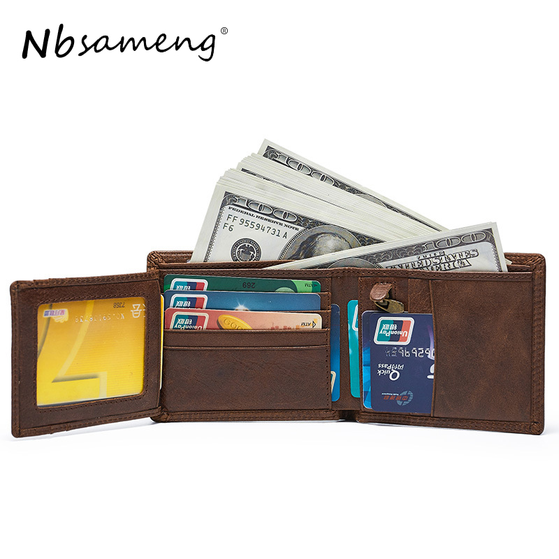 NBSAMENG Men's Vintage Cowhide Genuine Leather Short Wallets Trifold Clutch Solid Short Purses Male ID Credit Cards Wallet 100% wax oil cowhide vintage wallets female money clips real leather clutch wallet for women credit cards change purses 2014 new