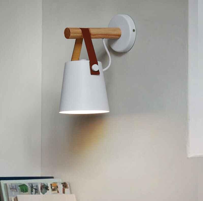 Светодиодный настенный светильник бра лампы с вилкой Гостиная E27 скандинавский деревянный пояс настенный светильник ночник для спальни ZBD0016