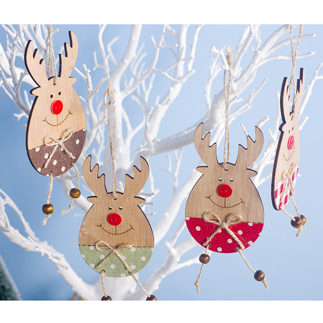 Cute Cartoon Smile Elk Wooden Ornament Christmas Tree Decoration Hanging Pendant Xmas Party Decor for Home Kids Gift Animal 2020 22