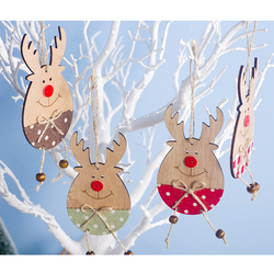 Cute Cartoon Smile Elk Wooden Ornament Christmas Tree Decoration Hanging Pendant Xmas Party Decor for Home Kids Gift Animal 2020 1