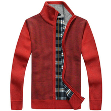 Men Warm Sweaters Thick Cardigans Winter Spring Sweater Tops stand Collar Overcoat Mens Wool Cotton slim