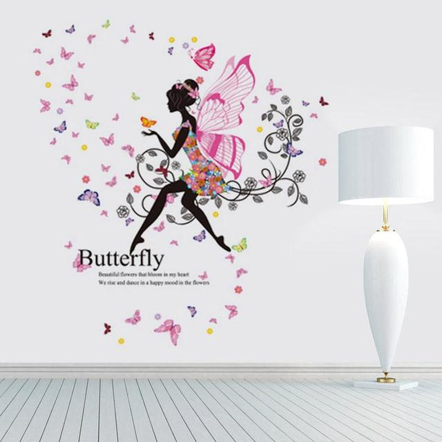 Flowers Fairy Wall Sticker Beautiful Wing Moon Butterfly Girls Stickers  Romantic Sweet Wall Decals DIY
