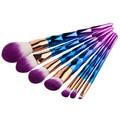 Nuevo 7 unids Diamante Arco Iris Unicornio Eyshadow Maquillaje Pinceles Set Fundación Colorete Powder Blending Cepillos Cosméticos Kit de Herramientas de belleza