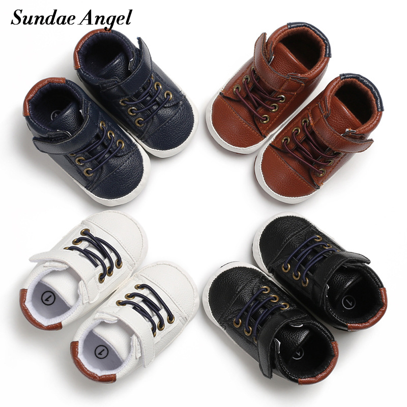 Sundae Angel Baby Shoes Boy Casual High Top Soft Soled Newborn Baby First Walkers Anti-slip Solid Synthetic Leather Prewalker
