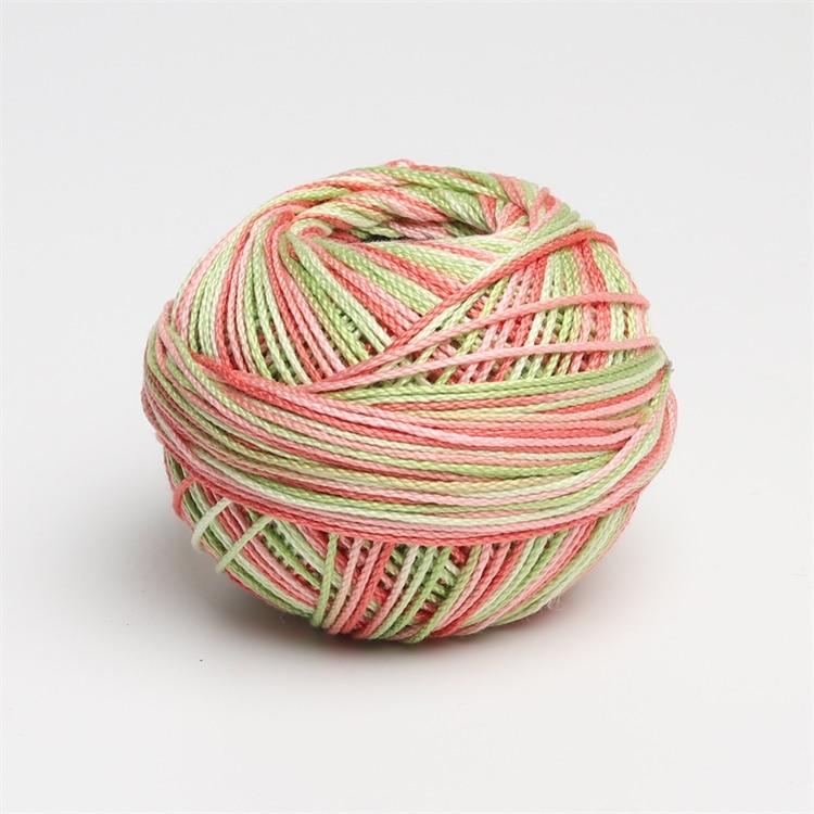 Размер 3 хлопок жемчуг пестрый 50 грамм мяч египетская длинноштапельная хлопковая пряжа газированная двойная мерсеризованная 6 нитей плетение - Цвет: 171