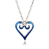 Classic Japanese Anime Blue Kingdom Hearts Crown Necklaces & Pendants High Quality Metal Enamel Heart Cartoon Charms Necklace