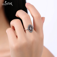 Solid Silver Rings For Women Creative Geometric Cz Diamond Ring Statement Deco Art Vintage Finger Ring