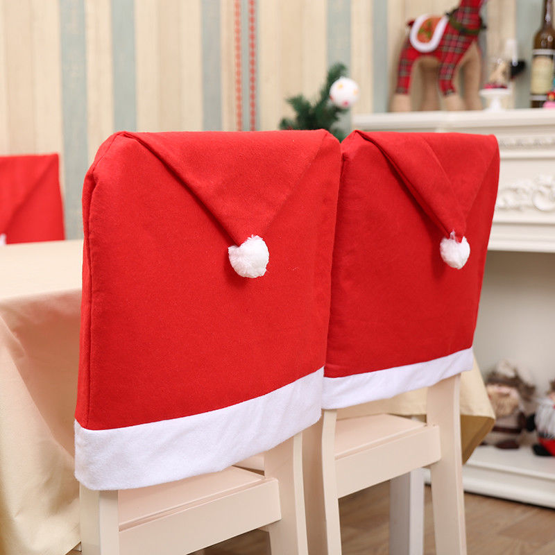 Xmas Red Santa Clause Hat Cap Chair Back Covers Gift Bag Dinner Party Decor