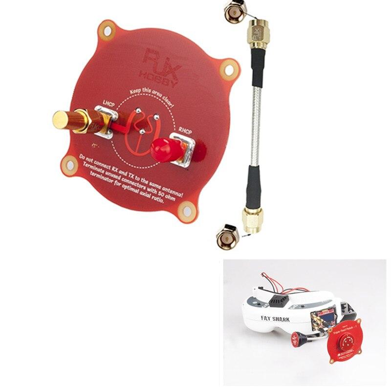 RJX 5.8 GHz 9.4dBi Alimentação Triple Antena Patch com um 50ohm Terminator para Fatshark FPV Goggles Red