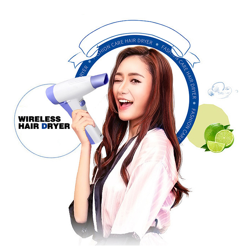 Купить с кэшбэком Wireless Hairdryer Lithium Battery Rechargable Portable Hair Blower Home Travel Outdoor Business Blower Hairdressing Tool UN861