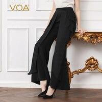 VOA тяжелый шелк Flare Брюки плюс Размеры 5XL Для женщин длинные брюки однотонные черные Повседневное середины талии оборками карманы Офис Весна