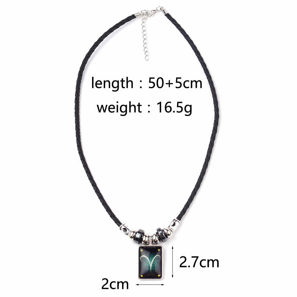 New Arrival Glow In The Dark Twelve Signs Of Zodiacal Constellations Pendant Necklace For Men Black Rope Chain Glowing