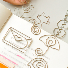 Metal Cat Heart Rose Shape Paper Clips Silvery Color Funny Kawaii Bookmark Office School Stationery Marking Clips