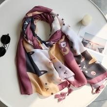 00786ce6e 2019 algodón Kitty borla de la impresión pañuelos y bufandas larga lindo  gato imprimir bufanda del Hijab venta al por mayor 10 u.