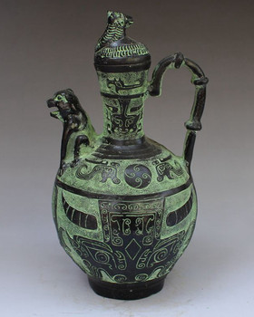 Collectlble Chinese Bronze Handwork Beast Flagon