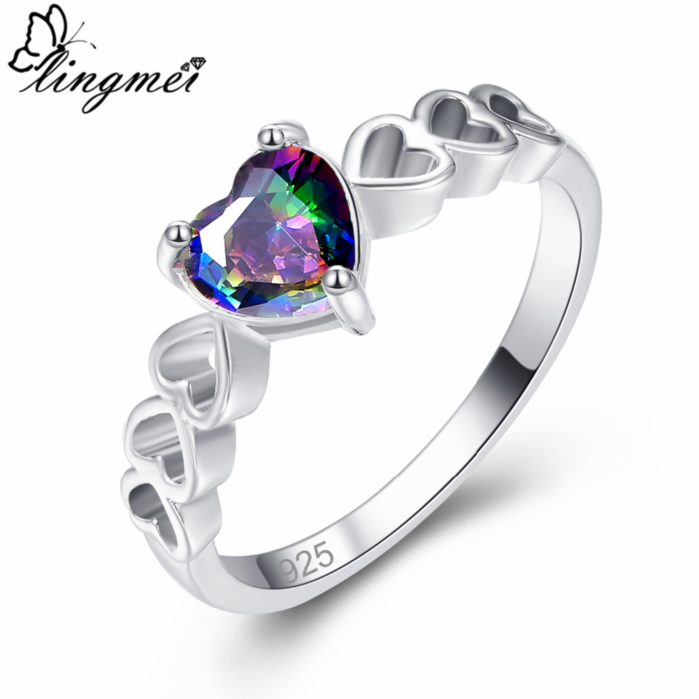 Lingmei Solitaire Style Statement Fashion Jewelry Love Heart Multicolor & Green Zircon Silver 925 Ring Size 6 7 8 9 Women Gift
