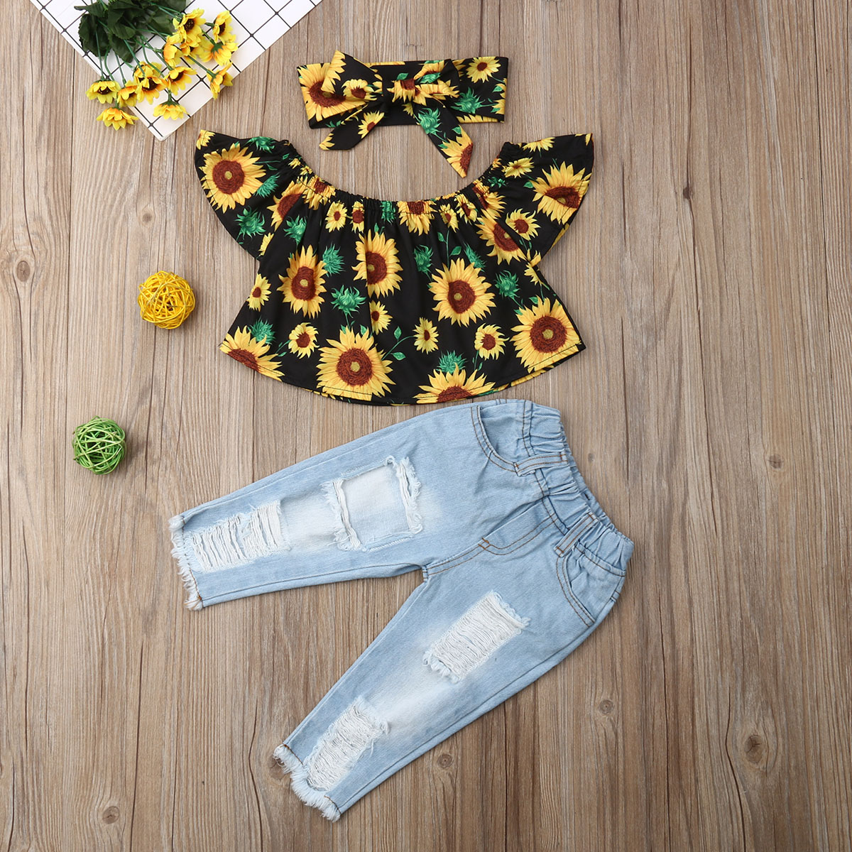 Pudcoco Toddler Baby Girl Clothes Off Shoulder Sunflower Print Tops Ripped Denim Pants Headband 3Pcs Outfits Summer Clothes