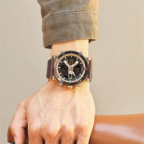 NAVIFORCE Men Watch Top Brand Luxury Sport Chronograph Digital Male Clock Genuine Leather LED Military Quartz Wristwatch 9132 Islamabad