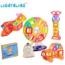 Magnetic Designer 40/60/80/90 Pieces Mini Building Blocks with 1 Pocket Kids Birthday Gift Children Educational Toys Lightaling