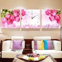 Простой современный тройной вышивка с кристаллами, розовые розы, цветок, 5d, алмазная вышивка, мозаичная вышивка, настенные часы