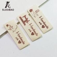 100 шт ярлыки ручной работы из хлопчатобумажной ткани печатные бирки для одежды сумки, швейные принадлежности
