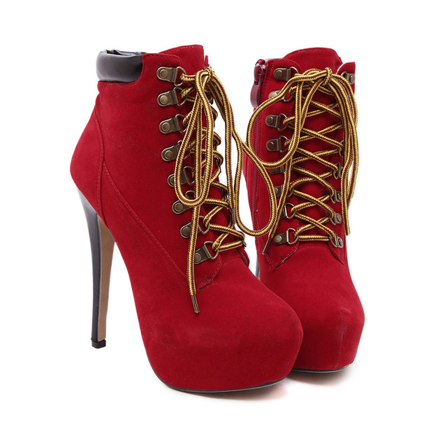Winter Shoes Women's High Heel Almond Toe Lace Up Ankle Booties Party Night Club Pumps Classic Platform Martin Boots WSH796