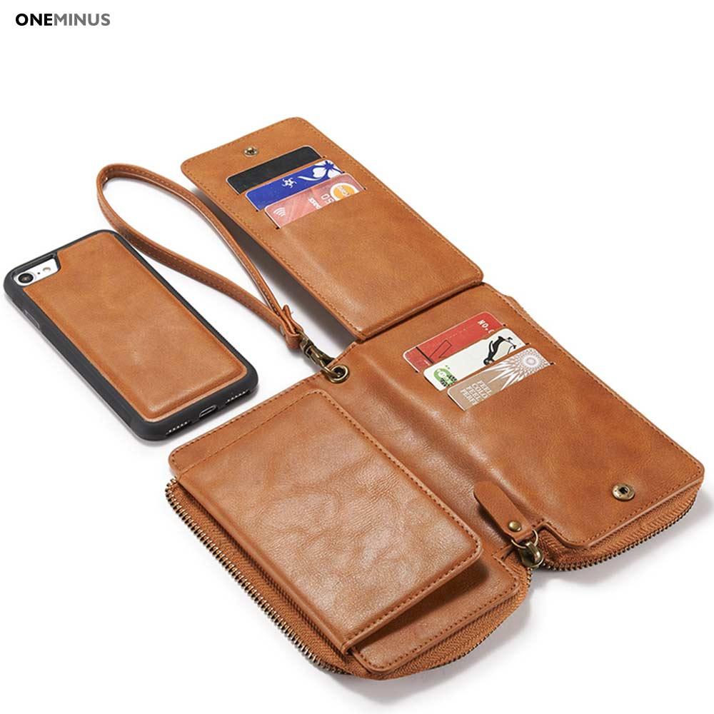 Цена за OneMinus PU Кожаный Бумажник, Сотовый Телефон Сумка Крышка Чехол Для iphone 7 7 Плюс Ретро Многофункциональный Кожаный Бумажник Случае с гнездами для карт