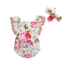 Summer Cute Newborn Baby Girls Sunsuit Lace Flower Romper Bowknot Headband Cotton Jumpsuit Clothes Outfits Set