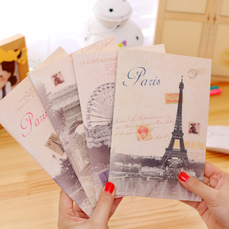A5 Retro Diary Book Page Notebook School Stationery Student Gift Classical Paris landscape Journal Planner Notepad Office Supply