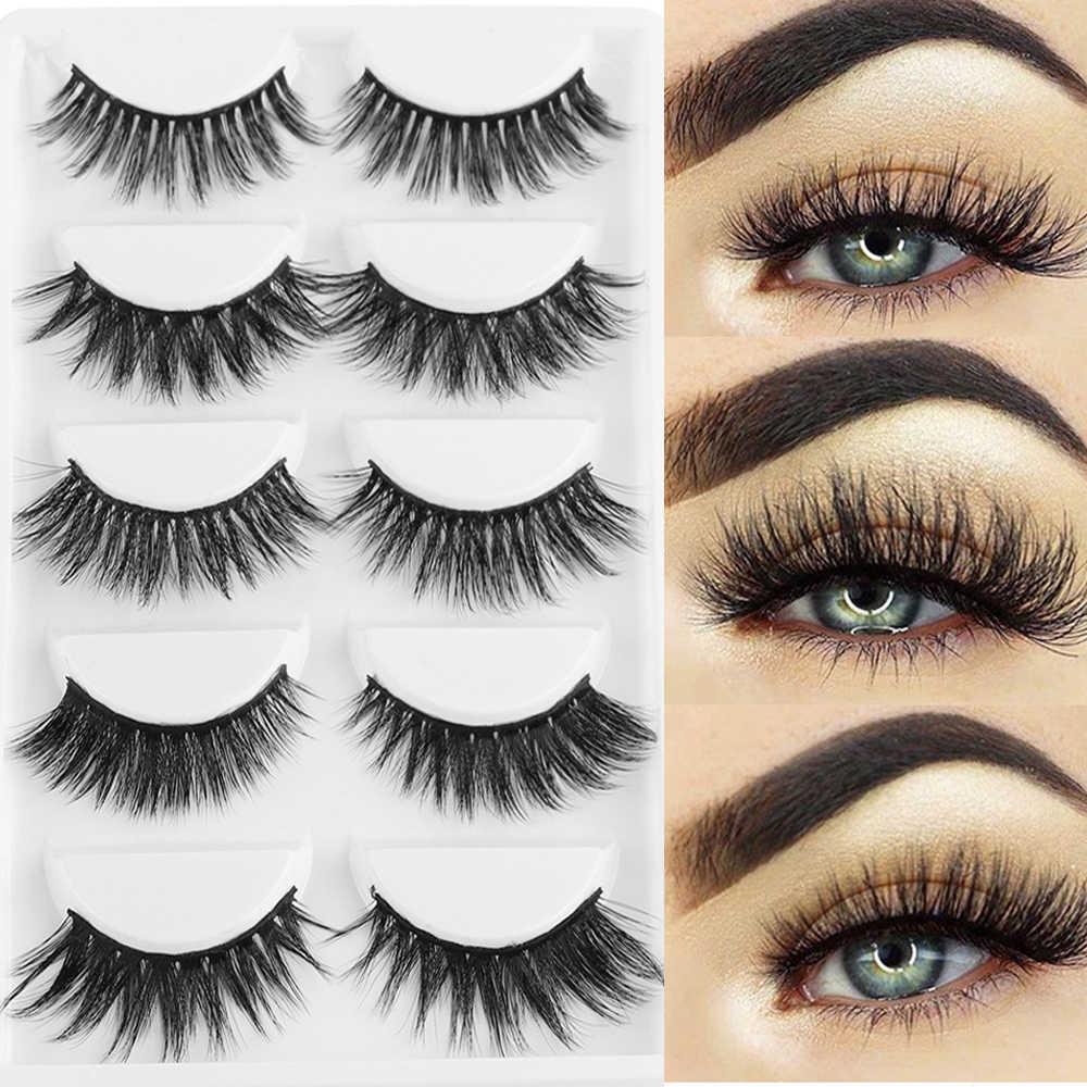 5ab891e0792 5Pairs Natural Long Cross Wispy Full Strips Eye Lashes Mixed 3D Synthetic  Hair False Eyelashes Handmade