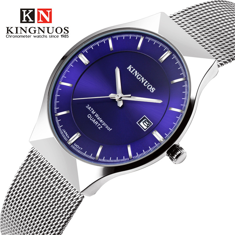 Kingnuos new men watch brand business watches for men ultra slim style wristwatch quartz for Kingnuos watch