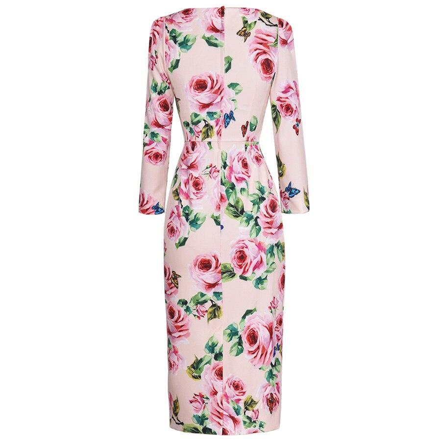 Vintage L'automne Col Femme Longues Mince Imprimé 2018 Mode V Manches longueur Élégant Tempérament À Début Seqinyy Genou Robes De cq5j43ARLS