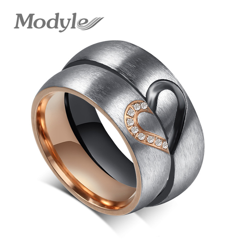 Modyle 2017 New Fashion Love Heart Couple Rings for Women Men Wedding Engagement CZ Ring Unique Fine jewelry