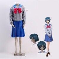 Athemis Anime Sailor Moon Ami Mizuno / Sailor Mercury Crystal Cosplay Costume custom made school outfit