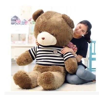 stuffed toy lovely teddy bear 160cm blue stripes sweater bear plush toy soft doll throw pillow w3365 стоимость