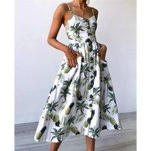 Sexy Boho women Beach Wear casual sundress 2018 New summer sleeveless v-neck Backless slim dress Floral Buttons fashion dresses