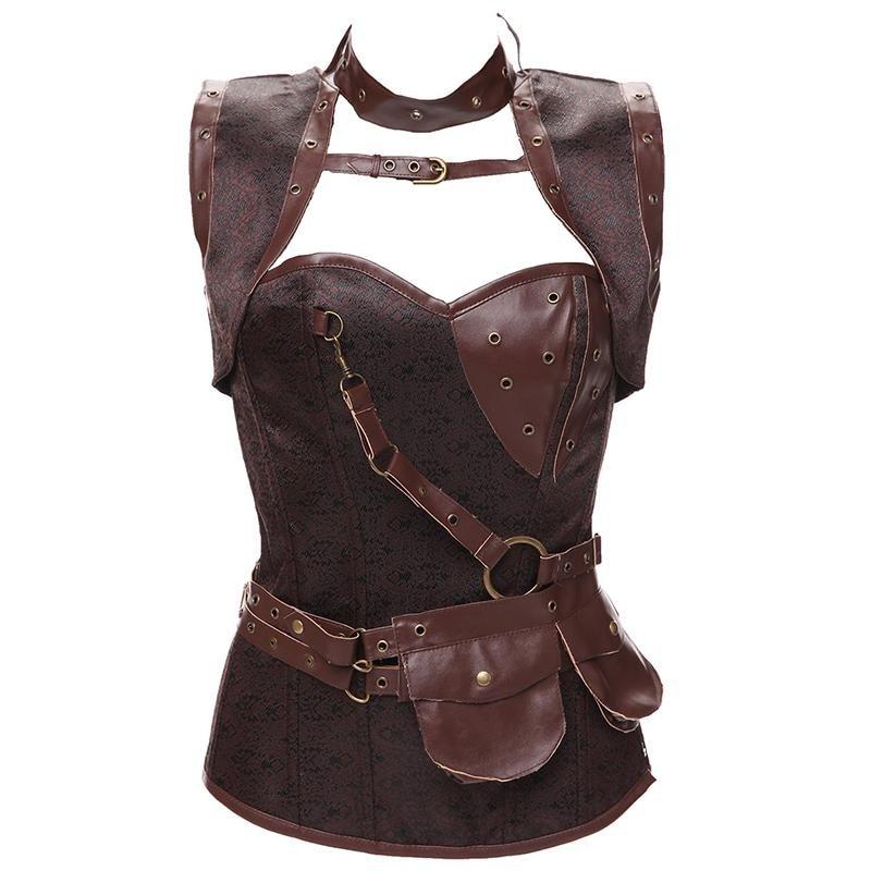 de943d8037 Size 6XL Punk Corset Faux Leather Steel Boned Gothic Clothing Waist ...