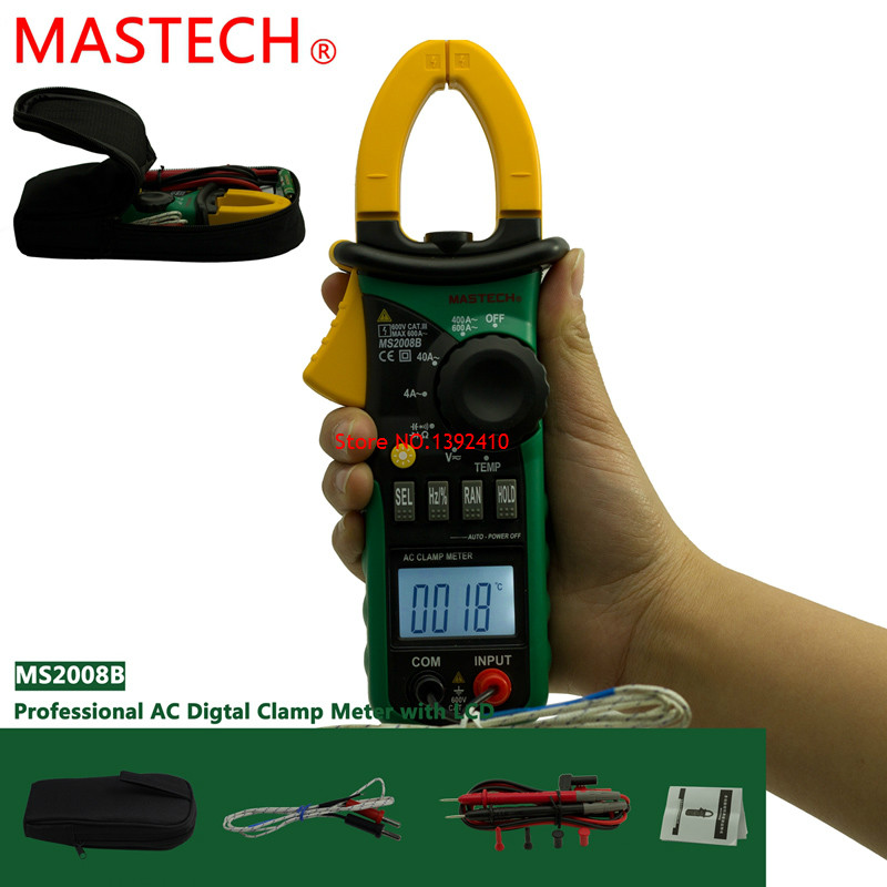 MASTECH MS2008B Auto Manual Range Digital Clamp DC/AC Volt Current Res Cap Temp Freq Meter with backlight  цены