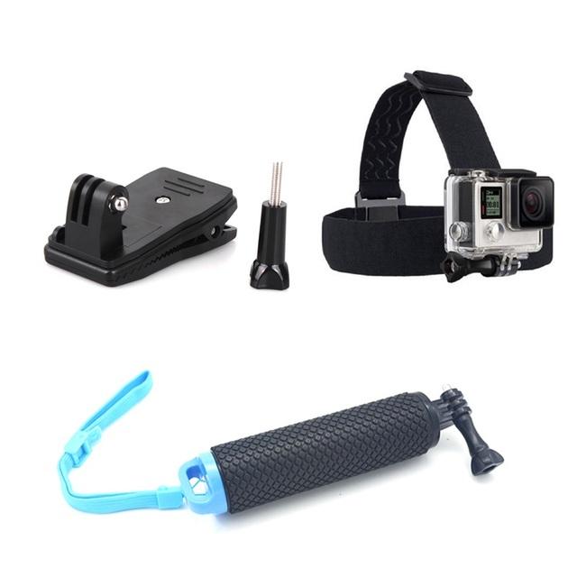 Go pro hero 5 4 acessórios desporto câmera cinta de cabeça montagem Bobber Flutuante Pega Monopé Mochila Clipe para SJ4000 câmera