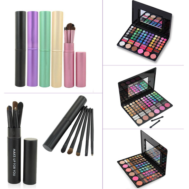 Fashion 78 Colors Contour Face Cream Concealer Eyeshadow Palette Cosmetic Kits + 5pcs Eyeshadow Powder Makeup Brushes Beauty Set