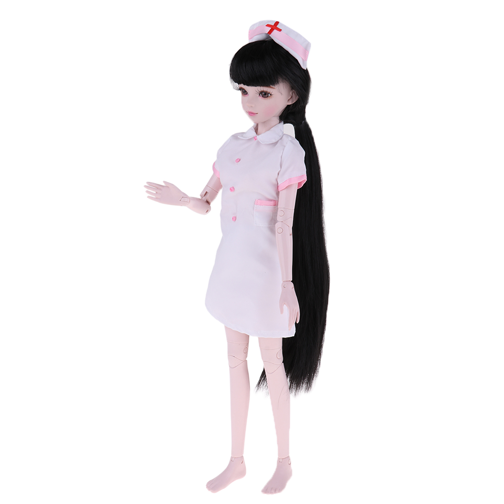 1/3 Jointed Girl Doll with Pink Nurse Uniform, Make Up Face, Long Hair for 60cm BJD Gift1/3 Jointed Girl Doll with Pink Nurse Uniform, Make Up Face, Long Hair for 60cm BJD Gift
