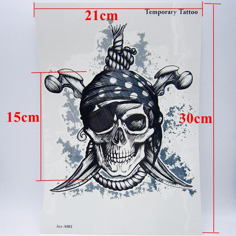 1pcs Big Cool Death Skull Tattoos For Men, Beautiful Arm Back Skull Pirate Waterproof Large Temporary Tattoo Stickers 30*21cm 2